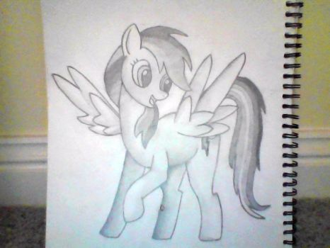 Rainbow Dash pencil drawing by mealking42