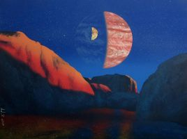 Jupiter as seen from Europa by Axel-Astro-Art