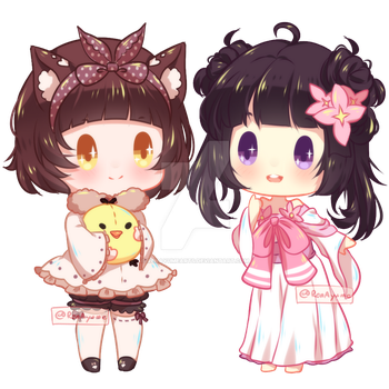 COMMISSION Tiny Chibi : Chiruha and Yui by RenAyumeDeer