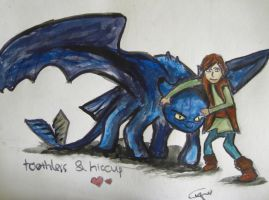 Toothless and Hiccup by vivsters