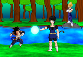 Vegeta, Articha and Tarble out for training by DBAFcreator