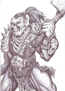 Orc in ballpoint by D-Type