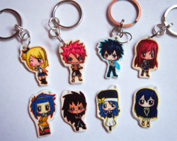 Fairy Tail Chibi Charm Keychains by IcyPanther1