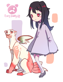 OC's Ghost Girl and Pet Cat by FurryDaddy69