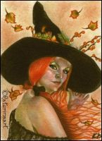 Autumn's Witch - ACEO by Katerina-Art