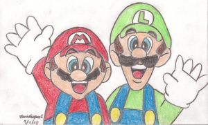 Mario and Luigi Drawing by MarioSimpson1
