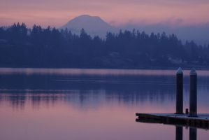 Sunrise over Dyes Inlet w Mt by MLStephenson