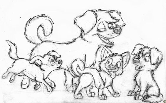 Family of Strays (sketch) by SocksTheMutt