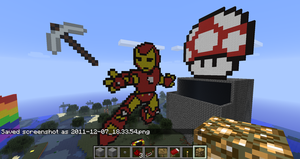 Iron Man and Mushroom in Minecraft by branduboga