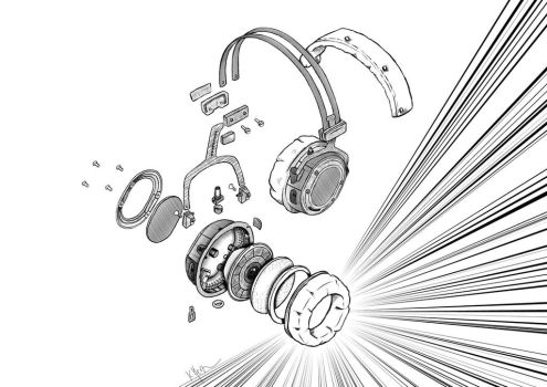 Exploded Headphones by FrolleinGrottenolm