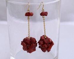 Red coral ball on chain earrings E966 by Fleur-de-Irk