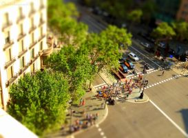 Colorful puppets in Barcelona street - Tiltshift by Cloudwhisperer67