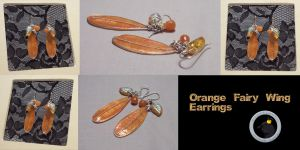 Orange Fairy Wing Earrings by ACrowsCollection