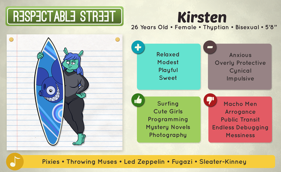 Respectable Street Character Sheets- Kirsten by mightybearrr
