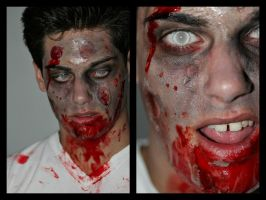 Halloween party Zombie make-up by Foxy333