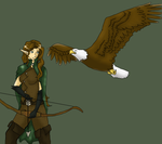 Elven Ranger and Pet by Oregonkitty