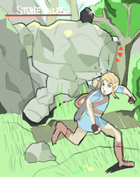 Zelda Breath Of The Wild: Link and Stone Talus by AlSanya