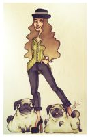 a lady and her pugs by linnzilla