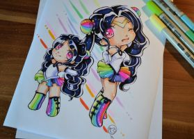 Sailor Rainbow Chibis by Lighane