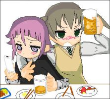 Drunken Chrona and Maka by Riiko-chan16
