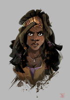 Michonne from Walking Dead by Clovernight