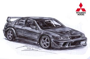 Mitsubishi Lancer Evolution 5 GSR drawing by toyonda