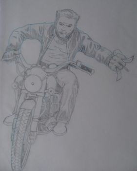 Wolverine on a bike by IsaacDH