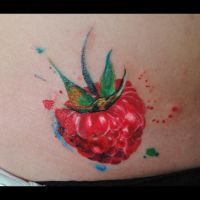 raspberry watercolor tattoo by dopeindulgence