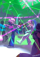 Two Chicks at Rave Party by blubhead