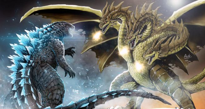 Godzilla vs King Ghidorah by Aosk26