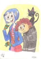 Coraline, Wybie and the Cat by Piddies0709