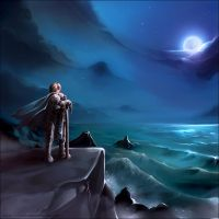 Commission - Ocean at night by Exarrdian