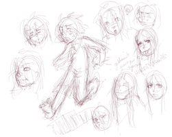 assorted people sketches by hugfiend