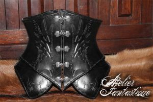 Ashentyr leather underbust corset by AtelierFantastique