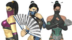 Mileena, Kitana, Jade Mortal kombat Shaolin Monks by TheShakifanN16