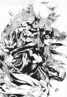 Batman and Batgirl by Marcio Doug by Ed-Benes-Studio