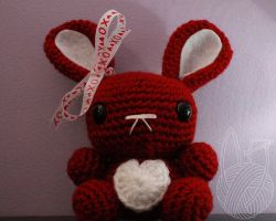 Red Valentine's Day Bunny - for sale on Etsy by theyarnbunny