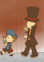 REQUEST: Layton n Luke by Flaframur