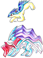 Quilava and Suicune by Strixic