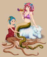 Octopus mermaid and Lamia colored by jaserzhang