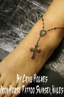 Rosary beads with cross tattoo by Craig Holmes by CraigHolmesTattoo