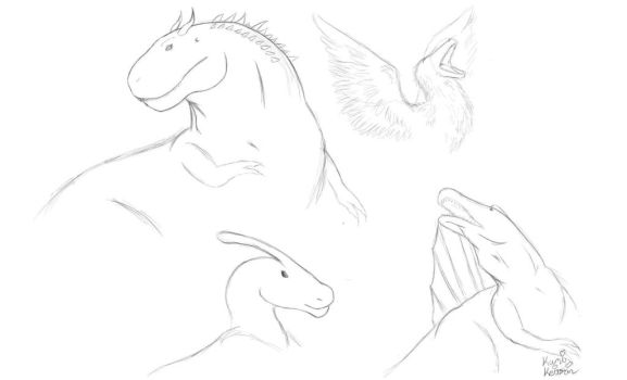 Dinosaur Sketches by KumiKeitorin