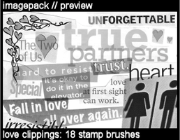 Love Clippings: 18 brushes by deviant-dandelion
