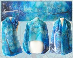 Trees in Blue silk scarf by MinkuLul