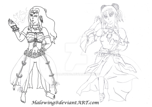 Link Work/ Pencil Sketch - Freya and Amber WIP by Halowing