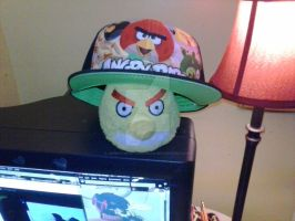 Chuck wearing my Angry Birds hat! XD by AngieTheCatGuardian