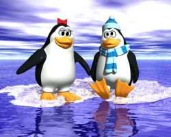 Boy and girl penguin by Bambolay