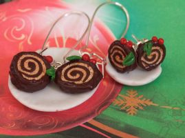 Christmas Log Cake Earrings by DeliciousTrickery