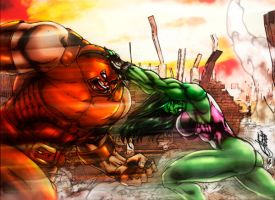 She-Hulk Vs Juggernaut (colors) by FantasticMystery