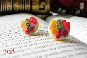 Mini fruit tarts post earrings by Benia1991